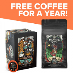 Bones Coffee for a Year Sweepstakes prize ilustration